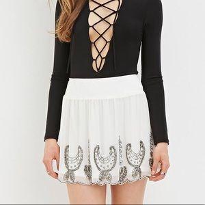 White boho mini skirt brand new
